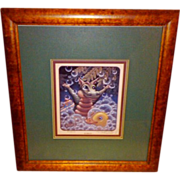 "SALE Randal Spangler ""Bubbles"" Dragon Signed and Framed 1993 Limited Edition Print"