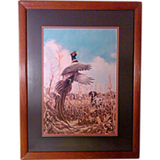 SALE Cornfield Pheasant Signed by Linda Picken - Matted and Framed Limited Edition