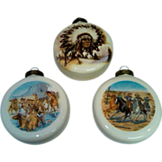 SALE American West Porcelain Ornaments - Set of 3