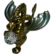 SALE Jeweled Brass Dragon Figurine with Cast Metal Wings