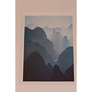 "REDUCED 1980s China, Guilin, ""Huangshan Mountains"", original framed photo signed by"