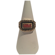 18K Coral and Enamel Mourning Ring