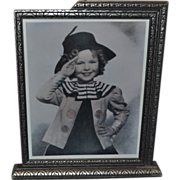 Art Deco Silver Finished Wood Picture Frame that Swings Shirley Temple Saluting