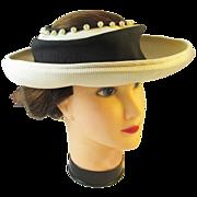 40s - 50s Caspar-Davis wide brim straw hat with faux pearls