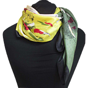 1950s Parisian Ladies silk blend scarf