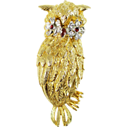 SALE Signed ART Mode Art Owl Pin with Rhinestones