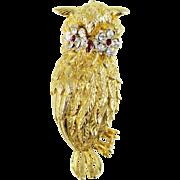 Signed ART Mode Art Owl Pin with Rhinestones