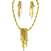 Stellar HOBE rhinestone waterfall necklace and earrings set.