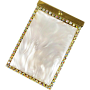 JUDY LEE rhinestone faux mother of pearl cigarette case