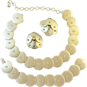 KRAMER 1950s gold-tone rhinestone necklace, bracelet, and earrings set