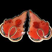 """MATISSE Renoir """"Leafsong"""" Earrings in Coral"""