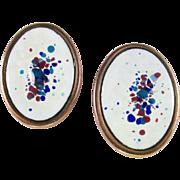SALE Mid-Century REBAJES enamel on copper earrings