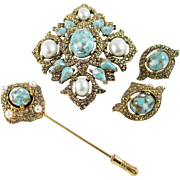 """SARAH COVENTRY 'Remembrance"""" Pin/Pendant, earrings and stick pin set"""