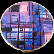1970s STRATTON mod purple plaid powder compact.