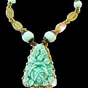 1920s Czechoslovakian aqua floral pressed - molded glass necklace
