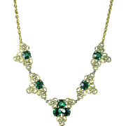 Vintage Filigree Emerald and Clear Rhinestone Necklace