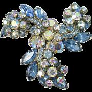 Large AB rhinestone and blue brooch