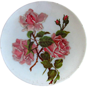 SOLD Antique Milk Glass Plate with Hand Painted Pink Rose Flowers