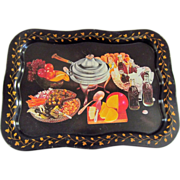 Vintage Coca Cola Advertising Tin Serving Tray with Party Food Motif