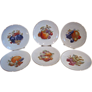 6 Schumann Arzberg Bavaria Germany Fruit & Nut Decorated Plates