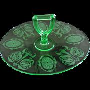 Cambridge Glass Majestic Etch 732 Vaseline Glass Oval Center Handle Tray