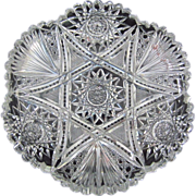 "Antique American Brilliant Cut Glass Bowl or Dish, 7"""