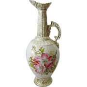 Antique Victoria Porcelain Carlsbad Austrian Ewer with Hand Painted Roses and Rose Hips