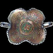 Vintage Fenton Carnival Glass Cobalt Blue Persian Medallion Bonbon Bowl