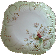 """Antique 11"""" Square Hand Painted German Tray with Embossed Detail"""