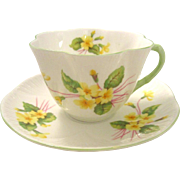 Shelley English Bone China Primrose Cup and Saucer in Dainty Shape