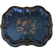 "Vintage Large Artist Signed Hand Painted Tole Tray with Floral Motif, 29""L"
