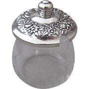 S. Kirk & Sons Sterling Silver Repousse Lid on Cut Glass Jam Pot