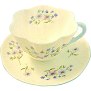 SALE Shelley Blue Rock Dainty Shape Bone China Cup and Saucer