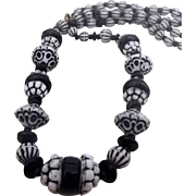 Vintage Black and White Glass Beads - Czech