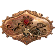 Victorian Brooch, Pin w Red Stone