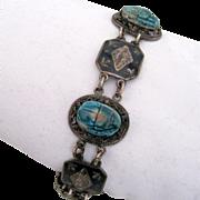 Fine Sterling & Turquoise Bracelet w Carved Scarabs