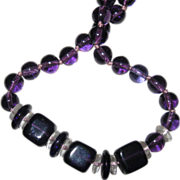 Gorgeous 48 Inches of Beads w Squares - True Purple