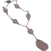 REDUCED Lovely Carved Rose Quartz Necklace on Sterling Chain