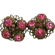 Vintage Pink Czech Screw Back Earrings