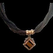 Victorian Hair Watch Chain w Locket Fob