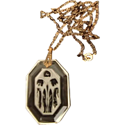 Etched Czech Pendant with Frosted Glass