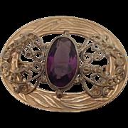 Gold Filled Sash Pin w Purple and Filigree