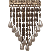 Showy Pin w Synthetic Ivory Pearl Dangles