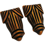 Pair of Butterscotch & Black Carved Bakelite Dress clips