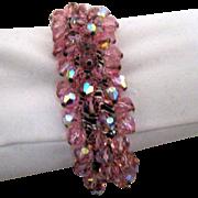 SALE Sparkling Expansion Bracelet w Pink Glass Beads