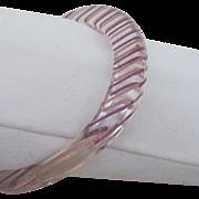 Clever Lucite Bracelet w Embedded Ribbon
