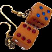 SOLD Vintage Pair of Bakelite Dice Earrings w Jewels