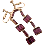 Vintage Purple-Amethyst Dangling Earrings