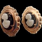 Sweet Vintage Silhouette Earrings - White on Black