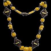 Yellow Czech Glass-Brass Necklace w Topaz, Finished Backs